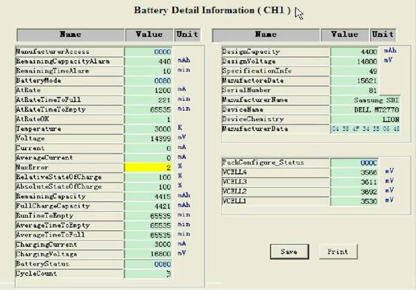 Battery test information