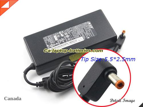 image of ACER ADP-135KB T ac adapter, 19V 7.1A ADP-135KB T Notebook Power ac adapter ACER19V7.1A135W-NEW-5.5x2.5mm