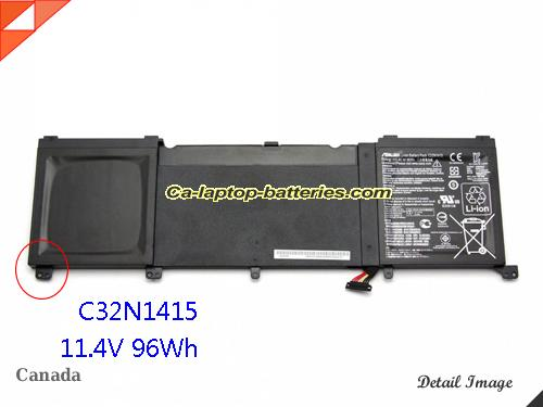 Genuine ASUS G501VW-FI135T Battery For laptop 8420mAh, 96Wh , 11.4V, Black , Li-ion